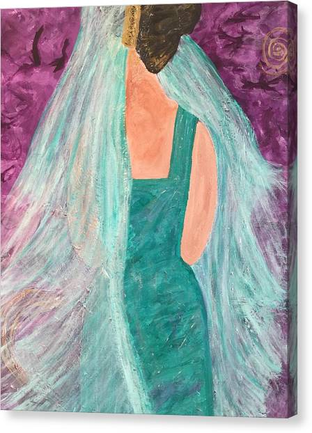 Veiled In Teal Canvas Print