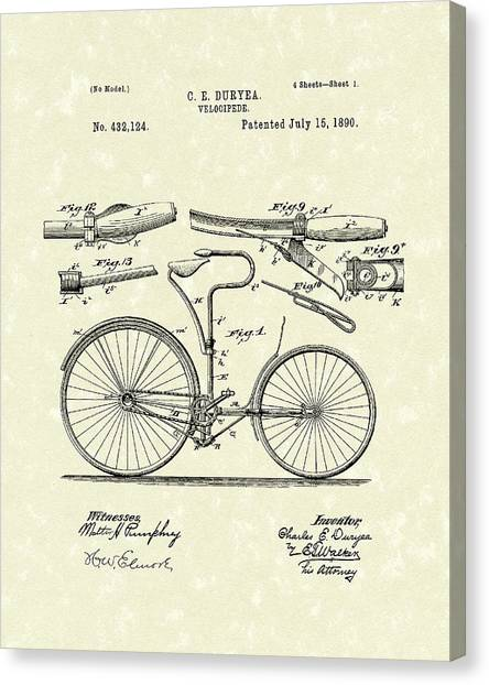 Bicycle Canvas Print - Velocipede 1890 Patent Art by Prior Art Design