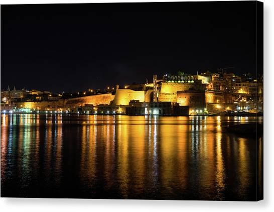 Midnite Canvas Print - Velvety Reflections - Valletta Grand Harbour At Night by Georgia Mizuleva
