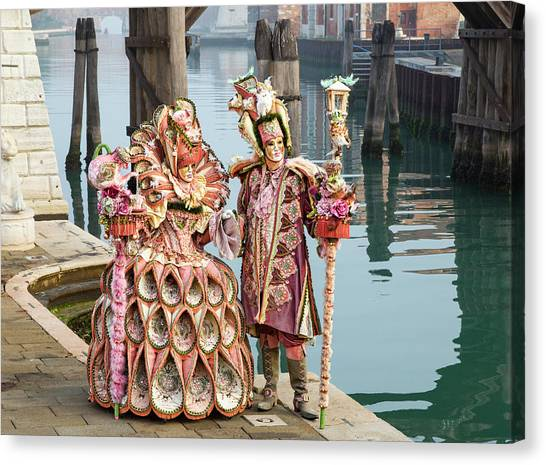 Venetian Couple Along The Canal Canvas Print