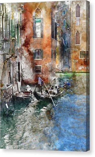 Venetian Gondolier In Venice Italy Canvas Print