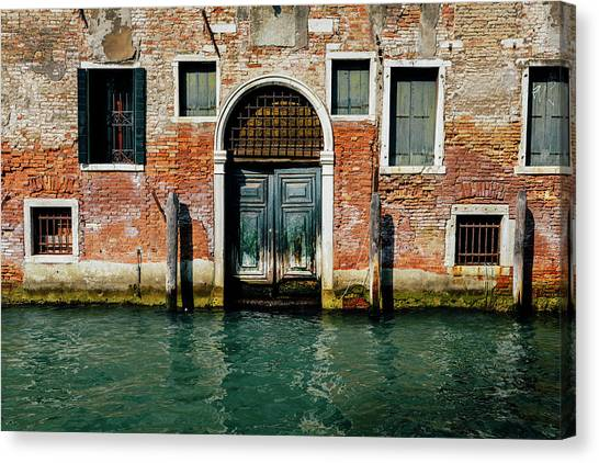 Venetian House On Canal Canvas Print