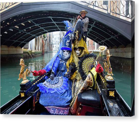 Venetian Ladies On A Gondola Canvas Print