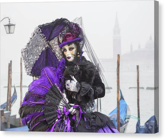 Venetian Lady In Purple Canvas Print