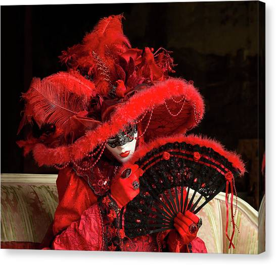 Venetian Lady In Red I  Canvas Print