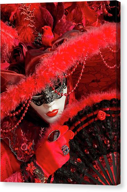 Venetian Lady In Red II  Canvas Print