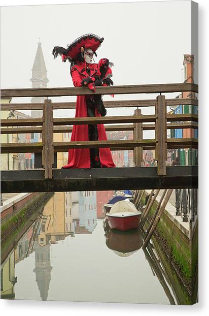 Venetian Lady On Bridge In Burano Canvas Print