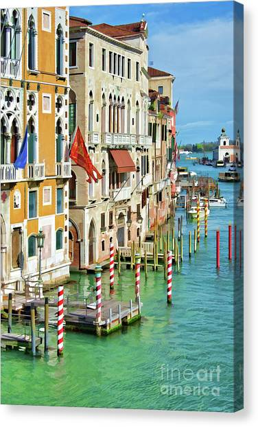 Pontoon Canvas Print - Venetian Palaces by Delphimages Photo Creations