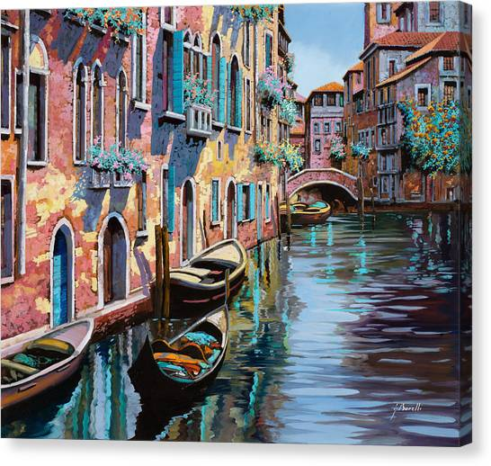 Boat Canvas Print - Venezia In Rosa by Guido Borelli