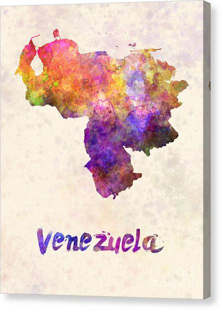 Venezuelan Canvas Print - Venezuela In Watercolor by Pablo Romero