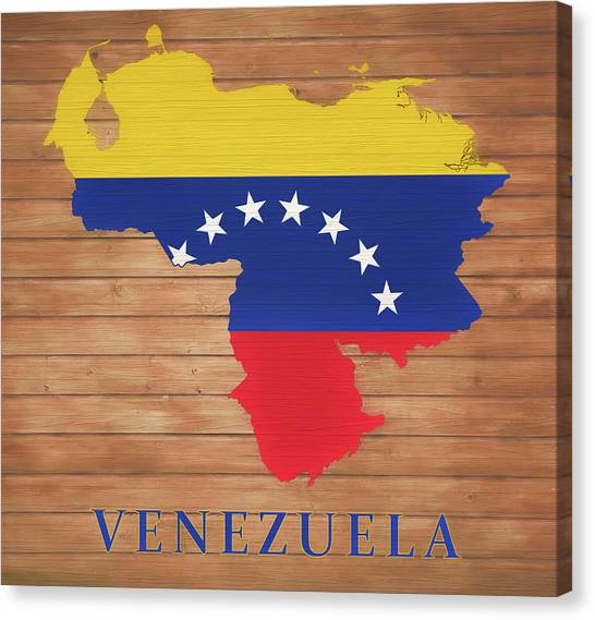 Venezuelan Canvas Print - Venezuela Rustic Map On Wood by Dan Sproul