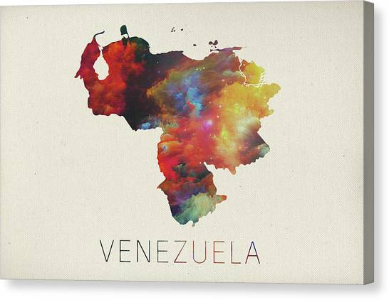 Venezuelan Canvas Print - Venezuela Watercolor Map by Design Turnpike