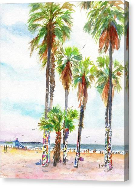 Graffiti Walls Canvas Print - Venice Beach California Graffiti Palm Trees by Carlin Blahnik CarlinArtWatercolor