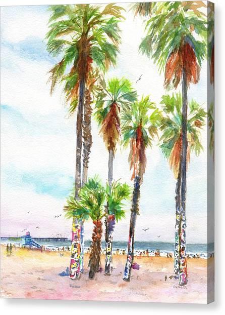 Graffiti Walls Canvas Print - Venice Beach California Graffiti Palm Trees by Carlin Blahnik CarlinArtWatercolor