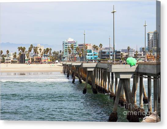 Venice Beach Canvas Print - Venice Beach From The Pier by Ana V Ramirez
