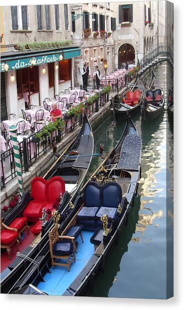 Venice Boats Canvas Print by Nina Simeonova
