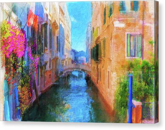 Venice Canal Painting Canvas Print
