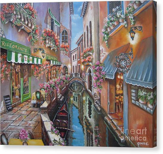 Venice Canal Reflections Canvas Print by Elizabeth Gomez