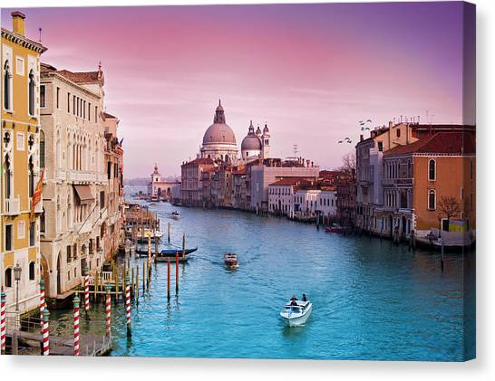 Humans Canvas Print - Venice Canale Grande Italy by Dominic Kamp Photography