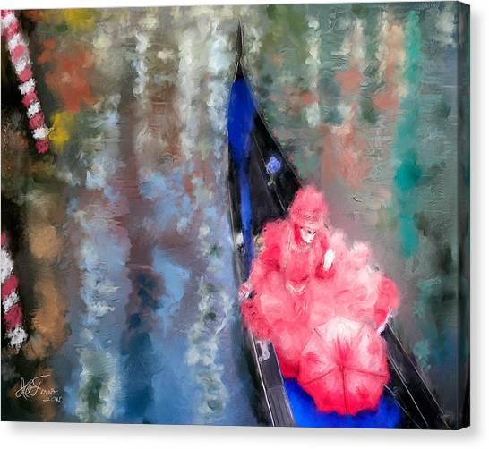 Venice Carnival. Masked Woman In A Gondola Canvas Print