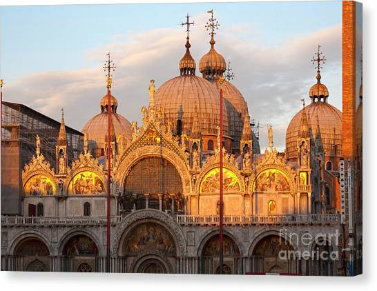 Byzantine Canvas Print - Venice Church Of St. Marks At Sunset by Heiko Koehrer-Wagner