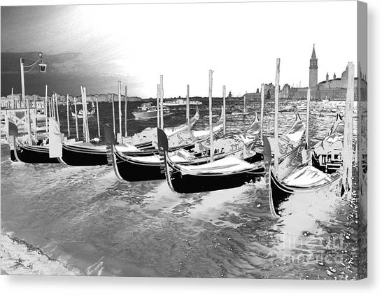 Venice Gondolas Silver Canvas Print