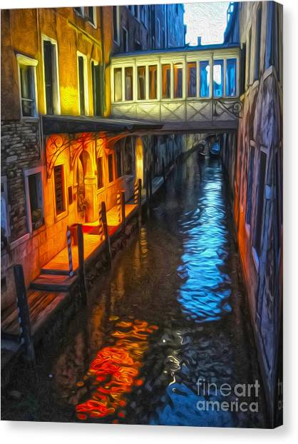 Venice Italy - Colorful Canal At Night Canvas Print