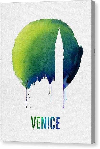 City Sunrises Canvas Print - Venice Landmark Blue by Naxart Studio