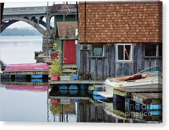 Venice On The Big Muddy Winona Mn Boathouses Canvas Print