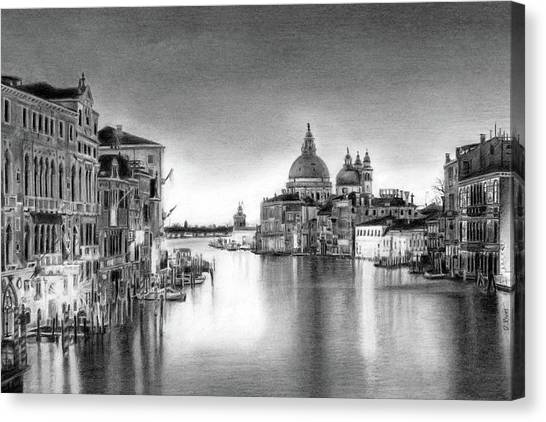 Venice Pencil Drawing Canvas Print