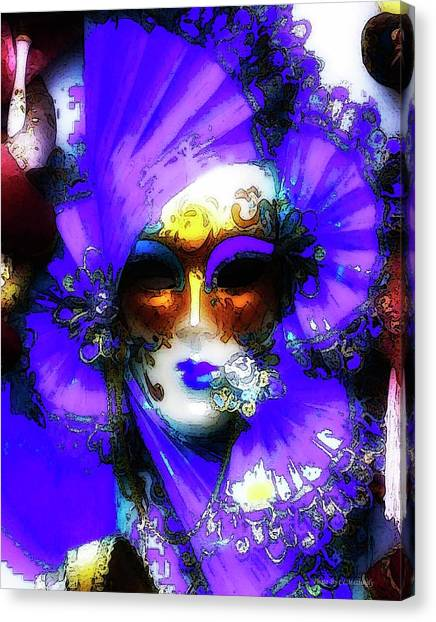Venice Purple Carnival Mask Canvas Print
