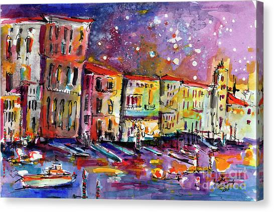 Venice Reflections Celebrating Italy Painting Canvas Print