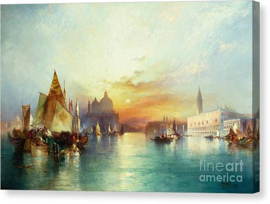 Dock Canvas Print - Venice by Thomas Moran