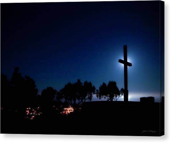 Ventura Ca Cross At Moonset Canvas Print