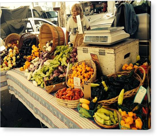 Fruit Baskets Canvas Print - Ventura Farmer's Market by Tiffany Marchbanks