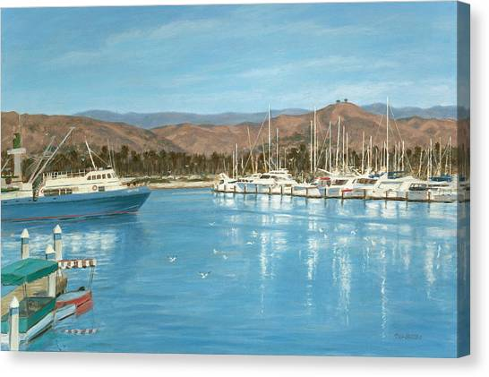 Ventura Harbor And The Two Trees Canvas Print by Tina Obrien