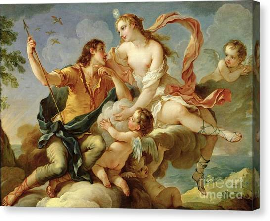 Cupid Canvas Print - Venus And Adonis  by Charles Joseph Natoire