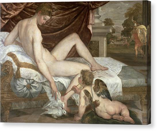 Cupid Canvas Print - Venus And Cupid by Lambert Sustris