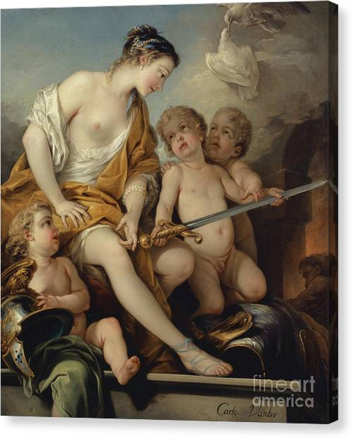 God Of War Canvas Print - Venus And Cupids With The Arms Of Mars by Carle van Loo