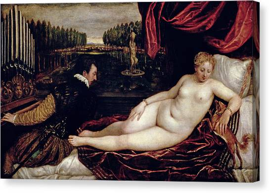 Venus Canvas Print - Venus And The Organist by Titian