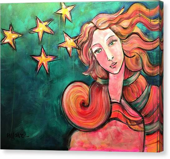 Canvas Print featuring the painting Venus Of The Stars by Laurie Maves ART