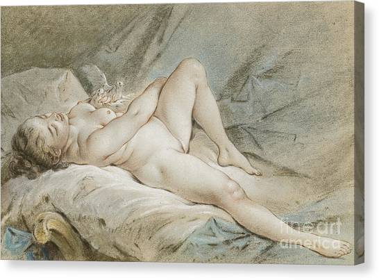 Venus Canvas Print - Venus Playing With Two Doves by Francois Boucher