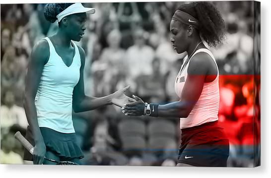Serena Williams Canvas Print - Venus Williams And Serena Williams by Marvin Blaine