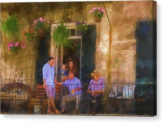 Veranda Bleue Canvas Print