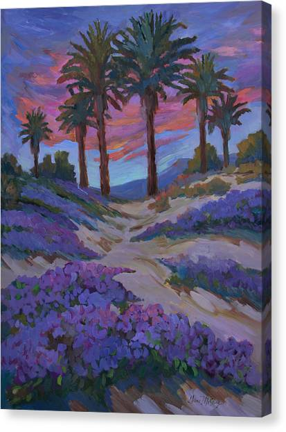 Mirages Canvas Print - Verbena And Desert Sunrise by Diane McClary