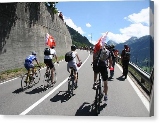 Canvas Print featuring the photograph Verbier - Tour De France 2009 by Travel Pics