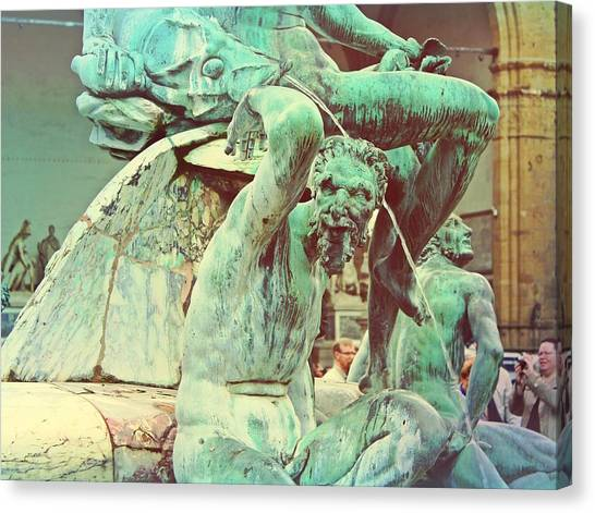 The Uffizi Gallery Canvas Print - Verdigris Statue In Florence Intaly by Mary Pille