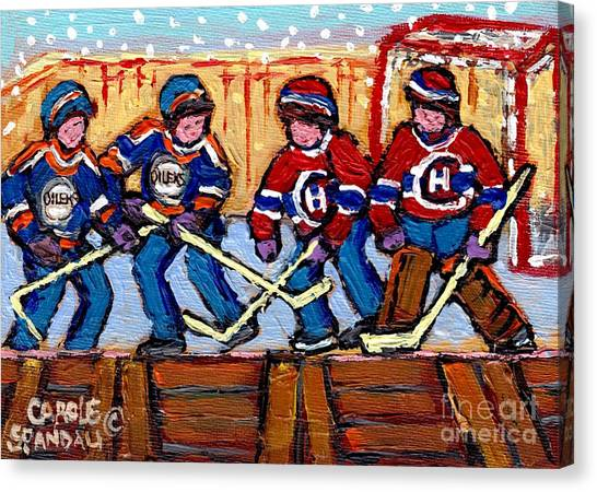 Edmonton Oilers Canvas Print - Verdun Hockey Rink Paintings Edmonton Oilers Vs Hometown Habs Quebec Hockey Art Carole Spandau       by Carole Spandau