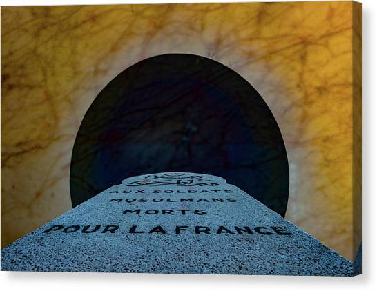 Canvas Print featuring the photograph Verdun, France - Muslim Memorial Marker by Mark Forte