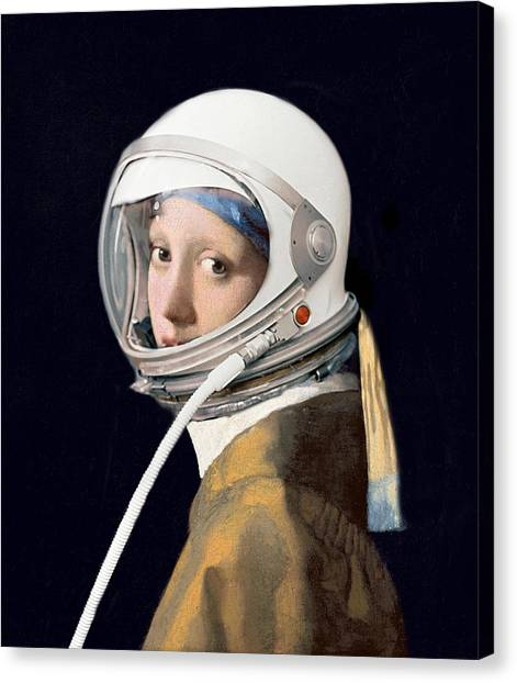 Vermeer - Girl In A Space Helmet Canvas Print